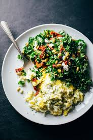 How To Make Really Good Scrambled Eggs by Goat Cheese Scrambled Eggs With Pesto Veggies Recipe Pinch Of Yum