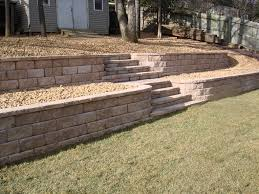 Building A Raised Patio With Retaining Wall by Tiered Garden Wall With Stairs Plans For The Backyard Near