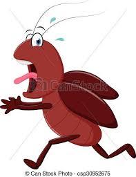 vectors illustration scary cockroach running cartoon vector