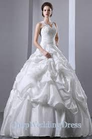 layered floor length v neck taffeta ball gown wedding dress on