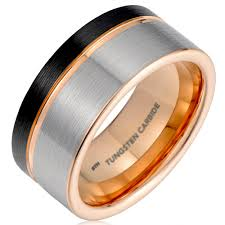 gunmetal wedding band mens black gunmetal grey tungsten carbide wedding ring with gold
