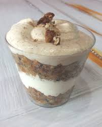 carrot cake parfait with cinnamon cream cheese icing and fireball