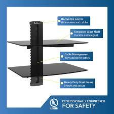 wall mounted av shelves qualgear universal dual shelf wall mount for a v components upto