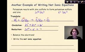 redox reactions part 4 writing net ionic equations youtube