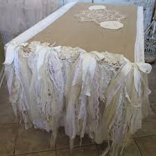 farmhouse style table cloth table cloth runner burlap recycled tattered ruffles lace crochet