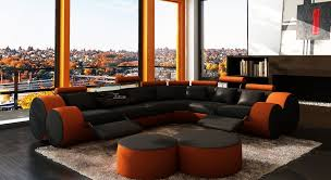 3087 modern black and orange leather sectional sofa and coffee table