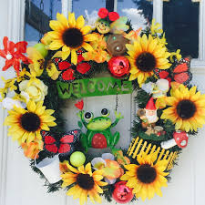 Sunflower Home Decor by Sunflower Summer Wreath 43 00 Handmade Home Decor Crafts And