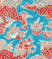 Upholstery Fabric Prints Aqua Kiwi Green Chinoiserie Vases Pots Jars P Kaufmann