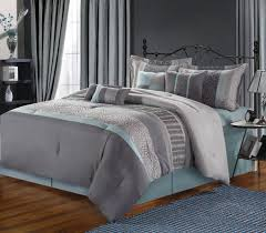 grey and blue bedding sets in perfect decoration
