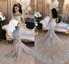 luxury wedding dresses cheap 2017 silver luxury wedding dresses sheer sleeves high