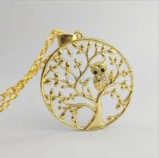 crystal owl pendant necklace images Wholesale small owl pendant necklace tree of life women gold jpg