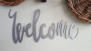 Metal Signs Home Decor by Welcome Sign Word Sign Metal Calligraphy Sign Farmhouse Decor