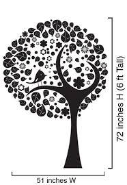 vinyl wall decal sticker stylish tree w leaves bird 6ft