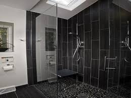 Black Ceramic Floor Tile Bathroom Bathroom Tile Shower Design With Glass Block Tiles And