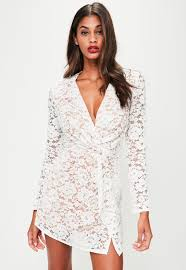 white lace dress white lace silky plunge wrap shift dress missguided