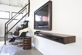 furniture curvy brown wooden floating tv cabinets with shelf and
