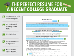 Resume Examples For College by Excellent Resume For Recent Grad Business Insider