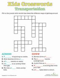 kids crosswords transportation worksheets transportation and