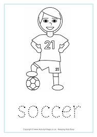 soccer word tracing