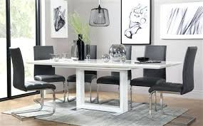 table and 6 chair set modern dining table chairs white high gloss extending dining table