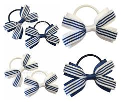 navy blue and white striped ribbon navy blue and white striped fabric hair bows on thick bobbles