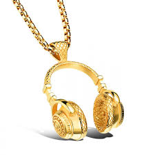 hip hop style necklace images Trendy jewelry fashion new style hip hop headphone pendant gold jpg