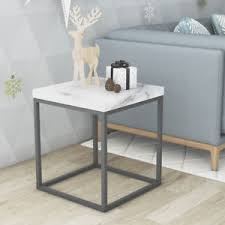 metal frame coffee table faux marble white top end table black metal frame side table for