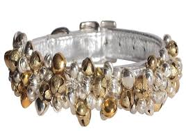 silver gold bell collar with crystals