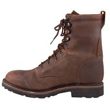justin mens wyoming waterproof lace work boot in stable boots at