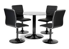 table ronde et chaises table ronde laquée noir et 4 chaises simili noir alister
