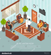 clinic waiting room medical worker visitors stock vector 595685456