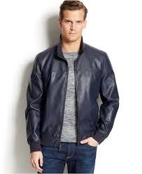 tommy hilfiger faux leather er jacket in blue for men lyst