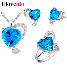 blue heart necklace jewelry images Silver color jewelry set rhinestone cubic zirconia blue heart jpg