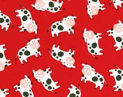 cow wrapping paper cow fabric etsy