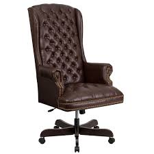 Leather Office Chair High Back Traditional Tufted Leather Executive Office Chair Free
