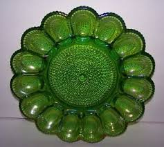 deviled egg serving tray vintage ornate iridescent green carnival glass deviled egg serving