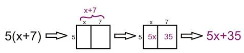 distributing and factoring using area