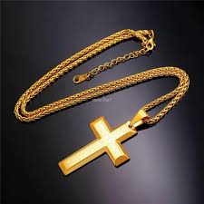 gold color necklace images Wholesale big cross necklaces black gold color stainless steel jpg