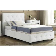 Faux Bed Frame White Leather King Bed Frame With Headboard Decofurnish Faux