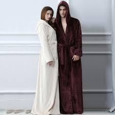 robe de chambre capuche amoureux plus la taille capuche flanelle chaud peignoir