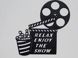 clapboard movie reel relax enjoy the show home movie theater
