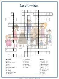 his printable crossword has the french words for various family
