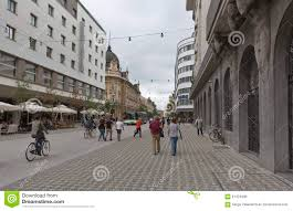 pedestrians walk along slovenska street in ljubljana slovenia