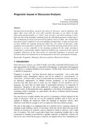 Examples Of Critical Essays Pragmatic Issues In Discourse Analysis