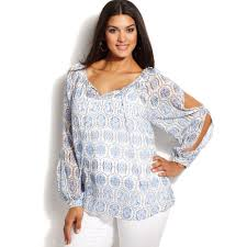 peasant blouse plus size lyst inc international concepts plus size splitsleeve printed