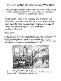 causes of the revolutionary war dbq north america british empire