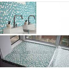 Backsplash Tile Blue Stainless Steel Mosaic Tile Decor Mesh Glass - Teal glass tile backsplash