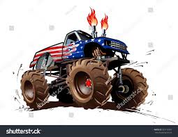 monster trucks races cartoon cars cartoon monster truck available eps10 separated stock vector