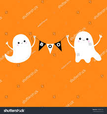 flying ghost spirit holding bunting flag stock vector 705681730