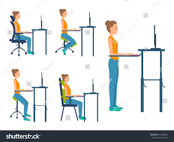 Standing Desk Posture by Different Types Seats Saddle Chair Standing Stock Vector 627860219